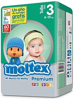Moltex Pañal Premium 4-10 kg Talla 3 Paquete 60 uds