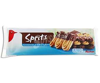 Auchan Sprits chocolate (galletas sables cubiertas de chocolate con leche) 150 gramos