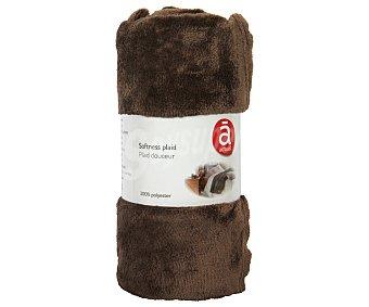 Actuel Manta de franela color marrón para sofá, 100% algodón, densidad de 220g/m², 130x170 centímetros 1 unidad