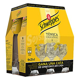 Schweppes Tónica Pack de 6 botellines de 25 cl