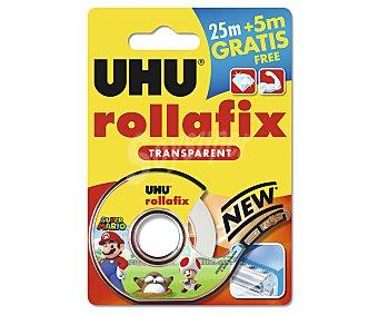 UHU Cinta adhesiva transparente, 25m + 5m Gratis, UHU Rollafix