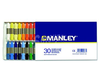 Manley Caja de 30 ceras blandas de diferentes colores e ideales para uso escolar 1 unidad