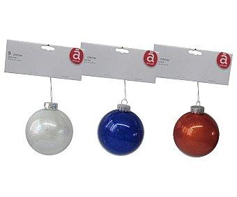 Actuel Bola de 9 centímetros de cristal pintado de color plata, ocre o azul, con efecto envejecido ACTUEL. Este producto dispone de distintos modelos o colores. Se venden por separado SE SURTIRÁN SEGÚN EXISTENCIAS 9cm