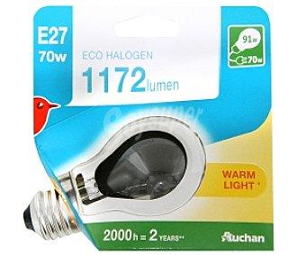 Auchan Bombilla ecohalógena esférica 70W, casquillo E27 (grueso) y luz cálida 1 unidad