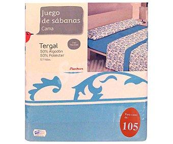 Auchan Juego de sábanas etampadas, modelo Ornamental Robledo en tonos turquesa para cama de 105 centímetros, 1 unidad