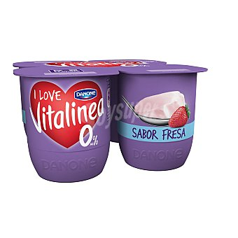 Vitalínea Danone Yogur desnatado sabor fresa Pack 4 x 125 g