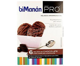 Bimanan Helado de chocolate con virutas de chocolate hiperprotéico e hipercalórico para una dieta de reducción de peso 6 unidades