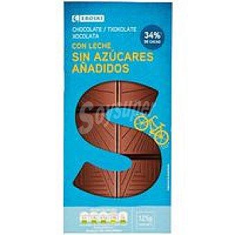 Eroski Chocolate con leche sin azúcar Tableta 125 g