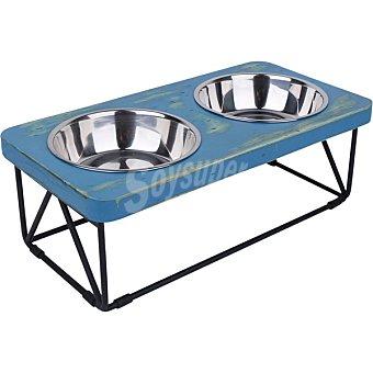 Fred & Rita Comedero doble para perros con base de acero 1 unidad 1 unidad