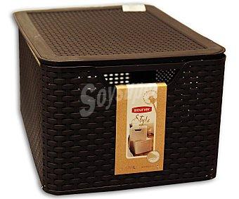 Curver Caja cesto multiusos con tapa, modelo My Style, 30 litros, color marrón chocolate 1 Unidad