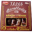 Tapas enrolladas de dátiles con bacon envase 80 g 8 unidades Envase 80 g (8 unidades) Espuña