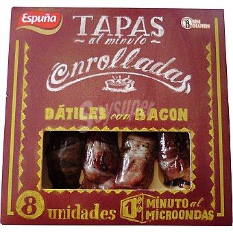 Espuña Tapas enrolladas de dátiles con bacon envase 80 g 8 unidades Envase 80 g (8 unidades)