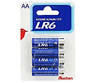 Auchan Pilas Alcalinas AA LR6 1,5V Pack 4 Unidades