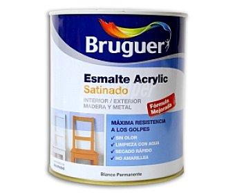 BRUGUER Esmalte decorativo acrílico, de color blanco permanente y acabado satinado 0,75 litros