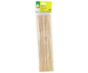 PRODUCTO ECONÓMICO ALCAMPO Paquete de 100 pinchos de madera para brochetas, 30 centímetros 100 unidades