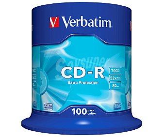 Verbatim Tarrina de 100 cd-r Datalife 700MB 52X verbatim cd-r 52x