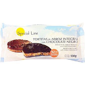 SPECIAL LINE tortitas de arroz integral con chocolate negro  envase 130 g