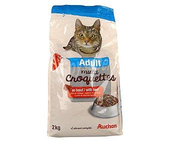 Auchan Comida seca para gatos adultos, multicroc de buey 2 kg