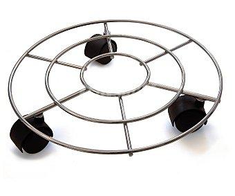 MOTTEZ Base circular rodante de hilo de acero cromado 1 Unidad