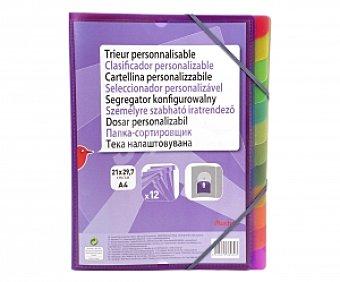 Auchan Clasificador de tamaño DIN A4, con tapas de polipropileno morado , con cierre de gomas, 12 separadores y tapa personalizable auchan