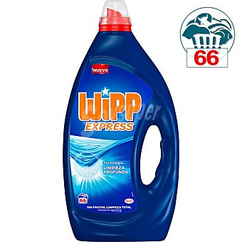 Wipp Express Detergente máquina líquido gel azul Botella 66 dosis