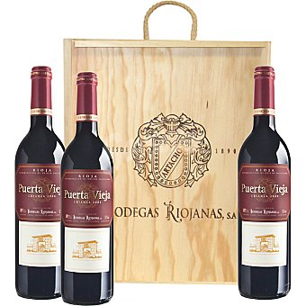 Puerta Vieja vino tinto crianza caja de madera 3 botellas 75 cl