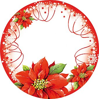 Poinsettia plato decorado 22 cm paquete 8 unidades