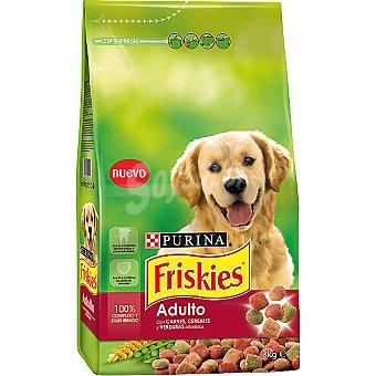 Friskies Purina Alimento para perro adulto con carnes, cereales y verduras añadidaas  Paquete de 3 kg