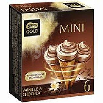 Nestlé Mini cono de vainilla-chocolate Gold 6 unidades de 46 g