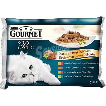 Gourmet Purina Duo con carnes delicadas para gato Perle 4 unidades