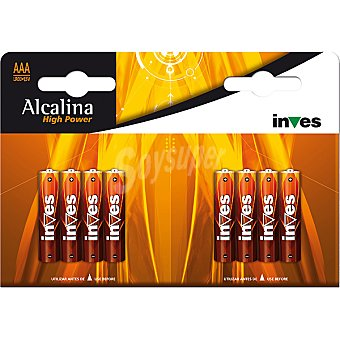 INVES HIGH POWER Pila super alcalina AAA (lr03) 1,5 voltios blister 8 unidades