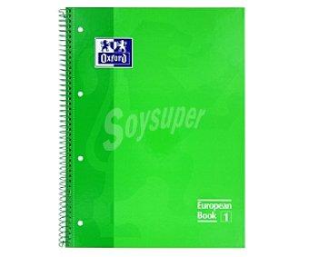 Oxford Cuaderno DIN A4 con cuadricula de 5x5 milímetros, margen izquierdo, 80 hojas de 90 gramos, tapas extraduras de color verde y microperforado con encuadernación con espiral metálica 1 unidad