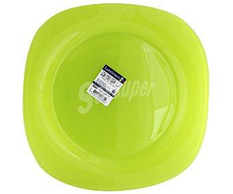 LUMINARC Plato llano modelo Carina Colors de 25,5 centímetros, fabricado en vidrio templado de color verde y diseño cuadrado con bordes redondeados 1 Unidad