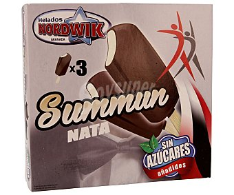 Nordwik Bombón helado de nata recubierto de chocolate sin azúcares añadidos 3 unidades de 120 mililitros