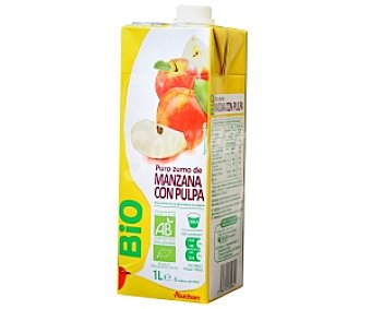 AUCHAN Zumo de manzana con pulpa, ecológico 1 Litro