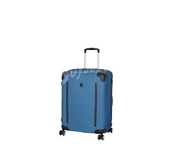 Itluggage Maleta con 8 ruedas pivotantes, estructura flexible de color azul, con las esquinas protegidas mediante goma de color negro Frameless, medida de 62 centímetros