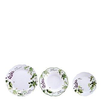 Vajilla en porcelana 18 piezas decorada Mod. REMEMBER 18 piezas