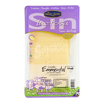Millan Vicente Queso emmental lonchas sin lactosa 100 g
