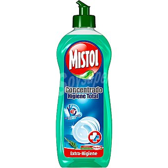 MISTOL lavavajillas a mano concentrado Higiene Total triple acción  botella 600 ml