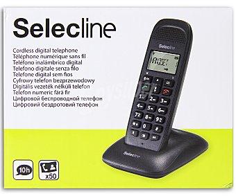 SELECLINE CALLER Teléfono inalámbrico (producto económico alcampo) Negro, agenda 50 contactos, registro ultimas 20 llamadas, alcance 300m exterior y 50m interior,