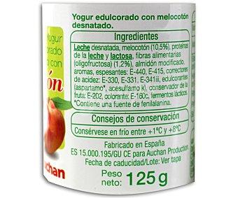 Auchan Yogur desnatado con melocotón 4 unidades de 125 gramos