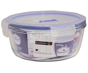 LUMINARC Recipiente hermético redondo de vidrio templado Pure Box Active, 0,92 litros de capacidad, 15x7 centímetros 1 Unidad