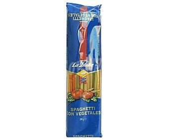 La Isleña Espaguetis, pasta de sémola de trigo duro de calidad superior a las espinacas y tomate Bolsa 500 g