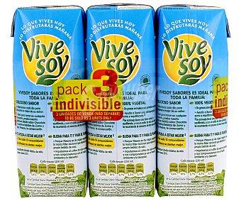 Vivesoy Bebida de soja con sabor a vainilla 3 unidades de 250 mililitros
