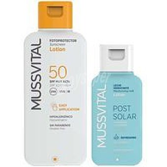 Mussvital Leche FP 50+  Bote 200 ml + Loción post solar 100 ml