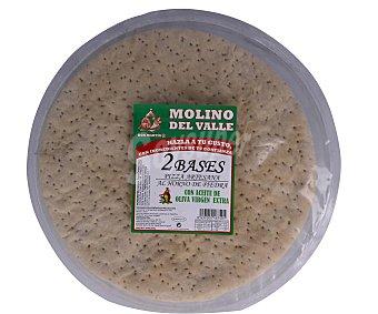 MOLINO DEL VALLE Base de pizza artesana con aceite de oliva virgen extra 2 unidades de 250 g