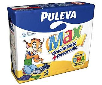 Puleva Max Leche especial Energía + Crecimiento con calcio, fósforo y vitaminas Sin Gluten Sin aceite de Palma Pack 3 envases 200 ml
