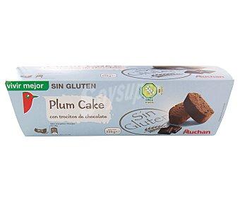 Auchan Plumcake (bizcocho con cacao y con trocitos de chocolate) sin gluten (controlado por la face) 225 gramos
