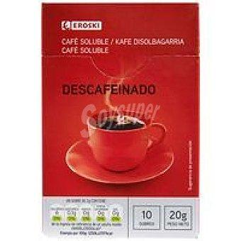Eroski Café soluble descafeinado Caja 10 sobres