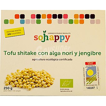 SOJHAPPY Tofu shitake con alga nori y jengibre ecológico Envase 250 g